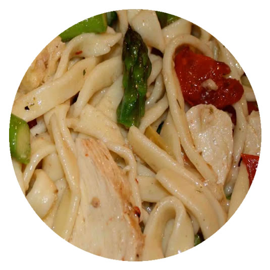 Chicken in Pasta, Sun Dried Tomatoes, Asparagus